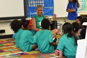 Winton Woods Primary North teacher Tricia Wilke with her new students at Jumpstart Orientation. Photo by Corina Denny.