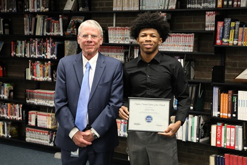 PHOTO CAPTION: Skyline Student-Athlete of the Month Kendal Phillips with board member Dr. John Cuppoletti. Photo by Drew Jackson.