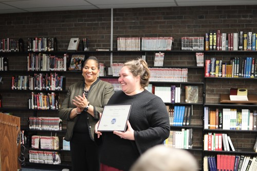 (l-r) Dr. Viola Johnson applauds Lori Wilson as she receives the January Skyline Teacher of the Month for Winton Woods City Schools.