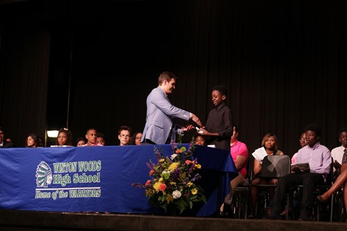 Students receiving awards at the 2018 Underclassmen Awards. Photo by Drew Jackson.