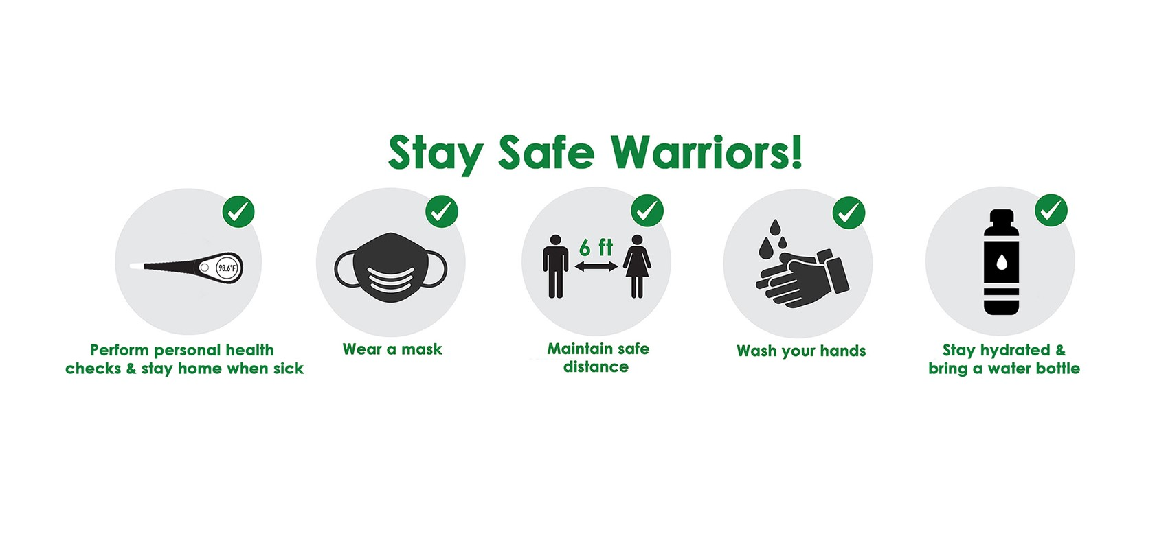 stay home when sick, wear a mask, 6 ft apart, wash hands, stay hydrated