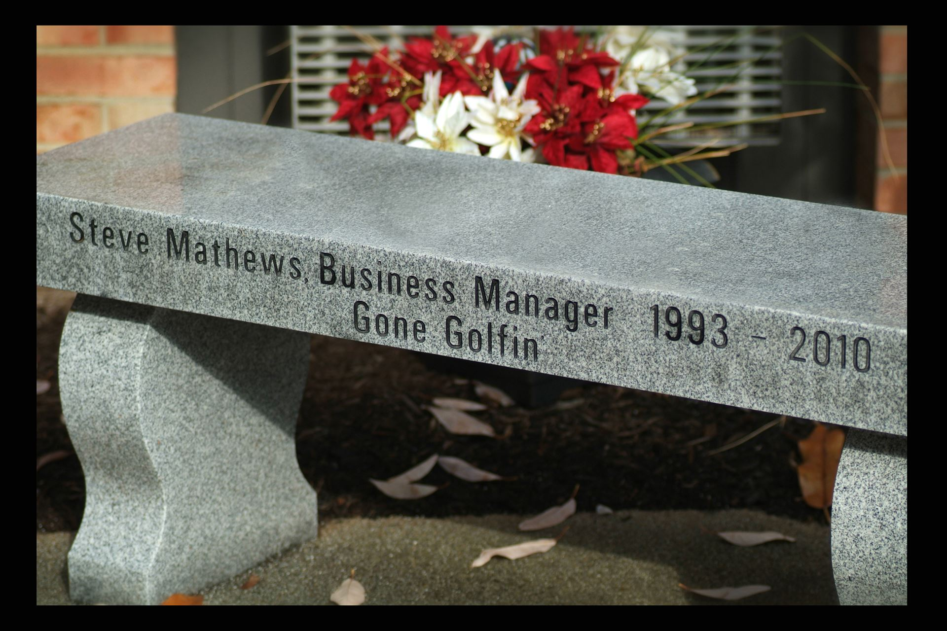 picture of bench dedicated to Steve Mathews