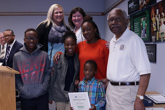 Primary South student Blake Engleman is shown with his mother Brittany Engleman, sister Brianna Engleman, brother Tranel Engleman Jr., Greenhills-Forest Park Kiwanis Club member Dr. Ben Floyd and Board President Jessica Miranda.