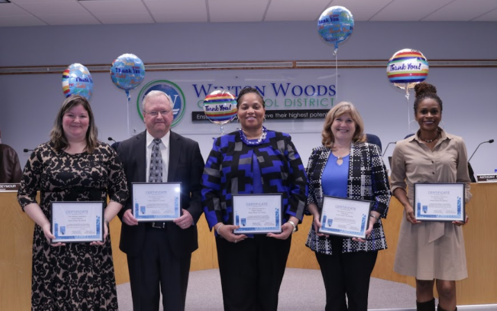 Winton Woods board members honored during School Board Recognition Month were (l-r) President Jessica Miranda, member Jeff Berte,Vice-President Dr. Viola Johnson, members Paula Kuhn and Katrina Rugless. Photo by Drew Jackson.