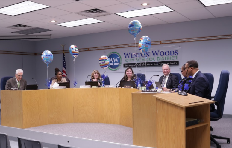Members of the Winton Woods board of education are (front, l-r) President Jessica Miranda and member Dr. Viola Johnson; (back, l-r) member Katrina Rugless, Vice President Jeff Berte and member Paula Kuhn. Photo by Teresa Cleary.