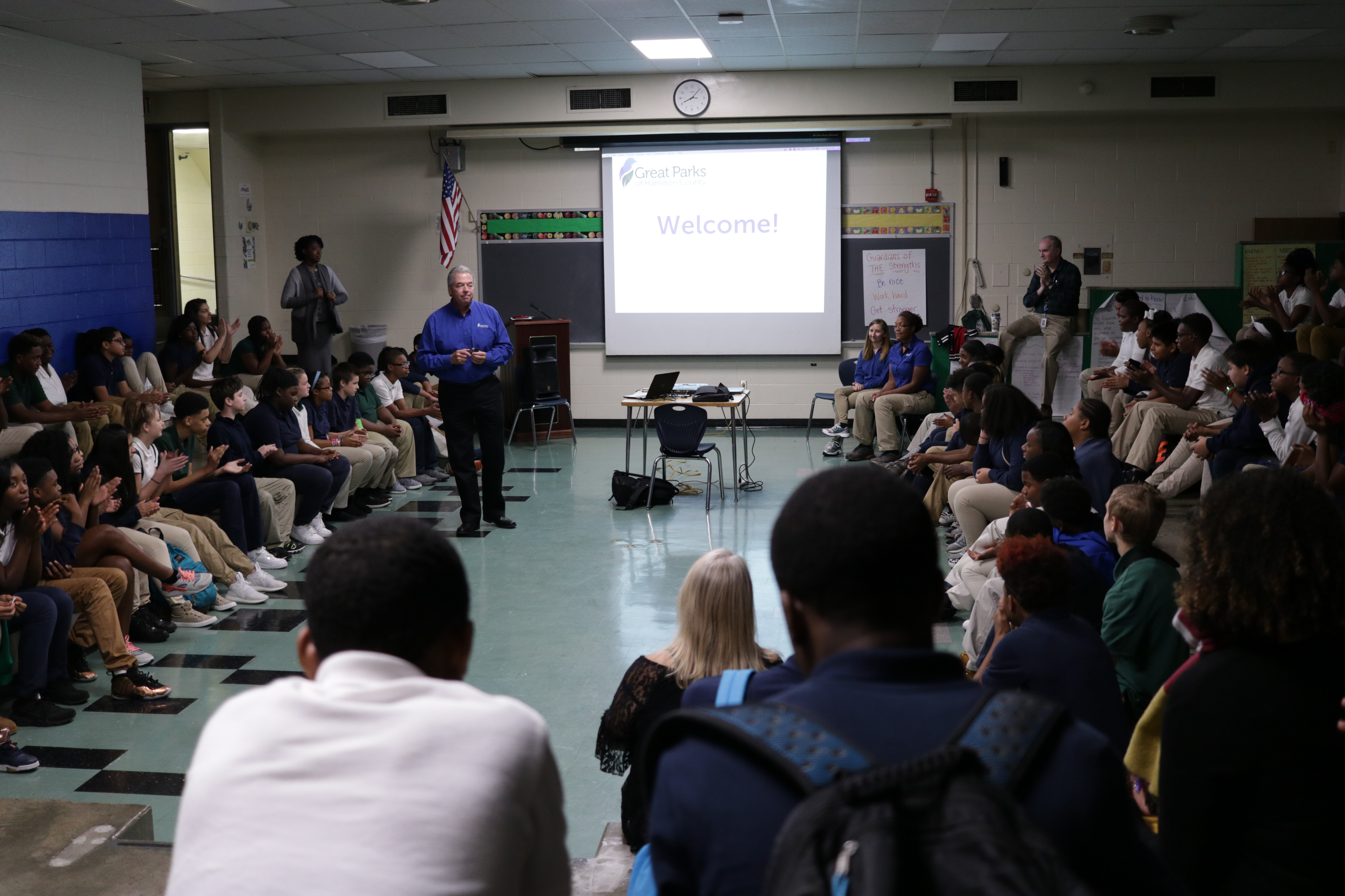 Jack Sutton presenting to eighth graders at Winton Woods Middle School. Photo by Drew Jackson.
