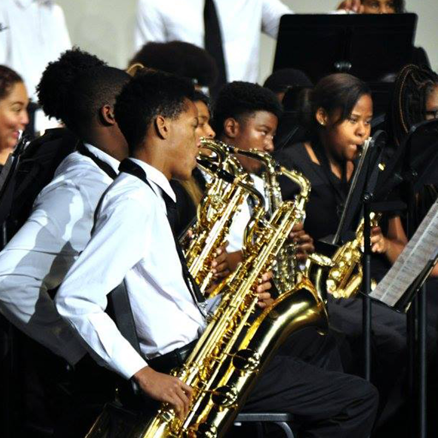 Winton Woods High School band performing at concert.