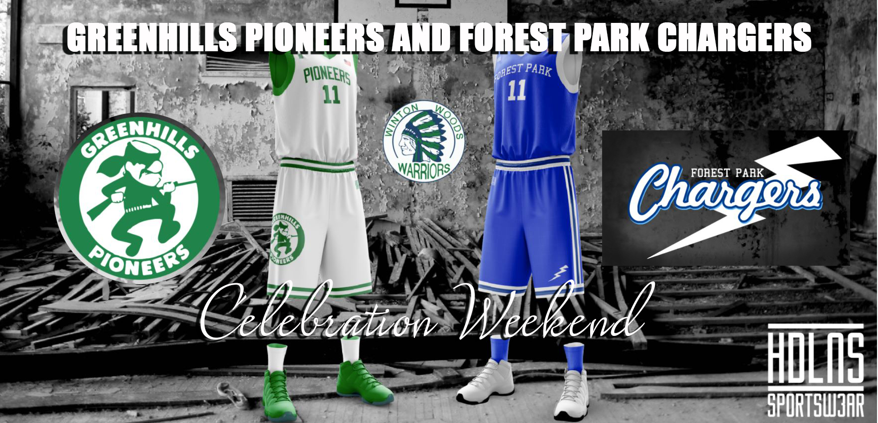 Bringing Our Past to Present:  Greenhills Pioneers and Forest Park Chargers Celebration Weekend Picture of old uniforms