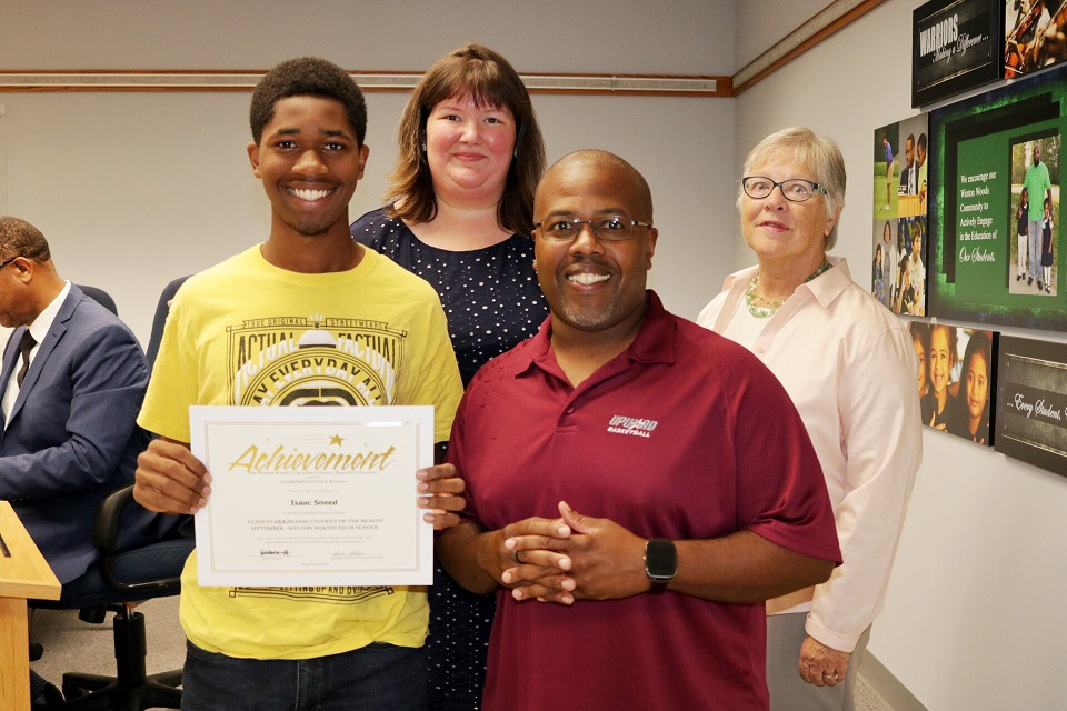 WWHS student Isaac Sneed was honored as the Kiwanis-Gold Star Student of the Month for September. He is shown with his father Derrick Sneed, Greenhills-Forest Park Kiwanis Club President Terry Lee and Board President Jessica Miranda.