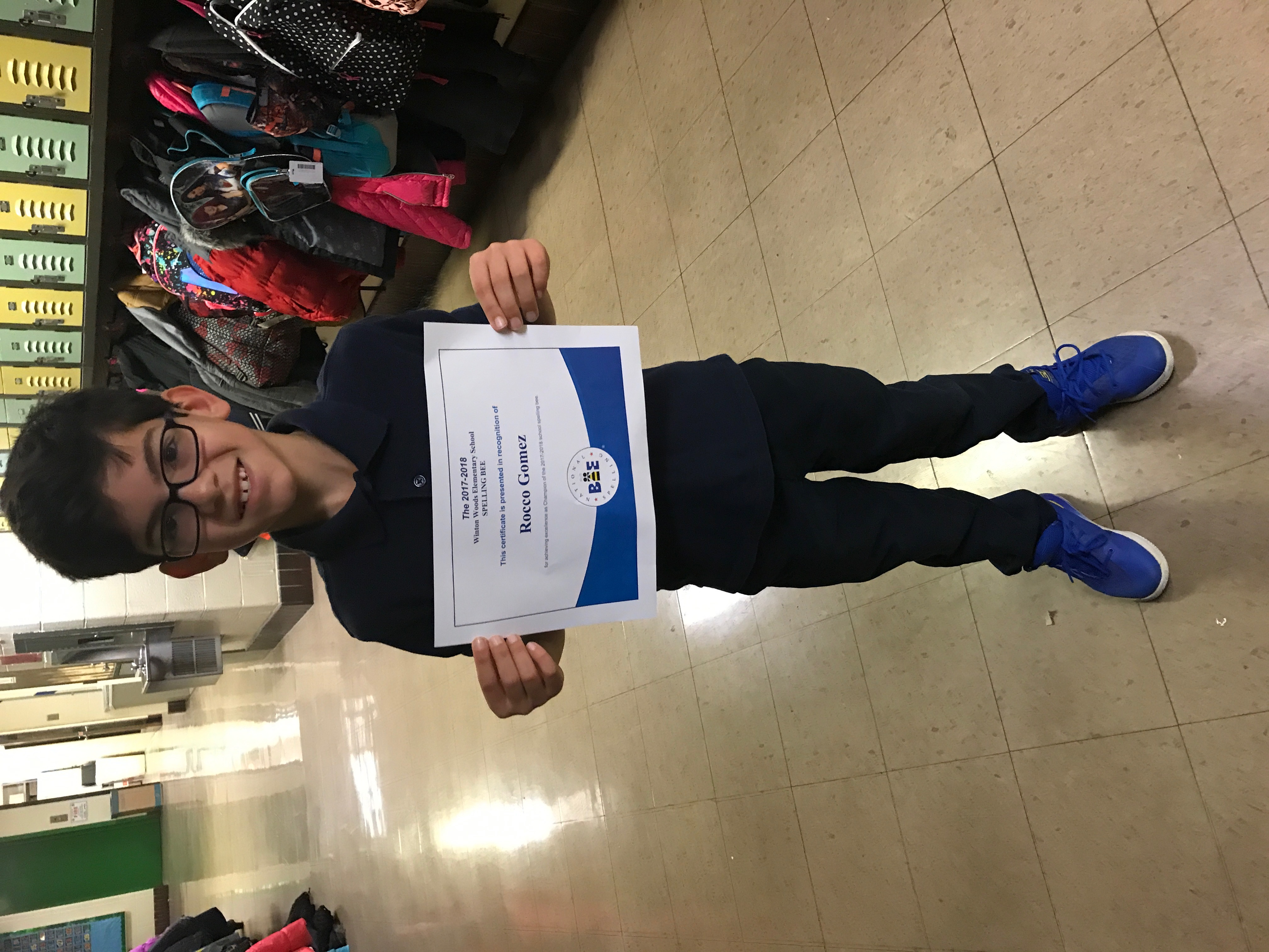 Rocco Gomez, WWES spelling bee champion, is shown with his winning certificate.