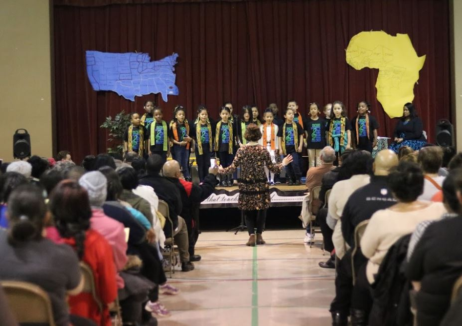 Winton Woods Primary North students perform in their African American History Program. Photo by Drew Jackson.