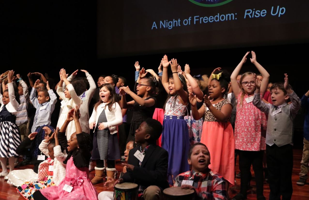 Winton Woods Primary North students perform before an award presentation in the Underground Railroad Freedom Center theatre. Photo by Drew Jackson.
