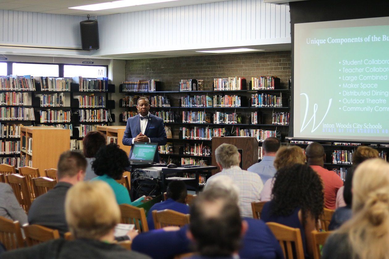 Winton Woods Superintendent Anthony G. Smith shown at the May 2018 State of the Schools address at Winton Woods High School Media Center.