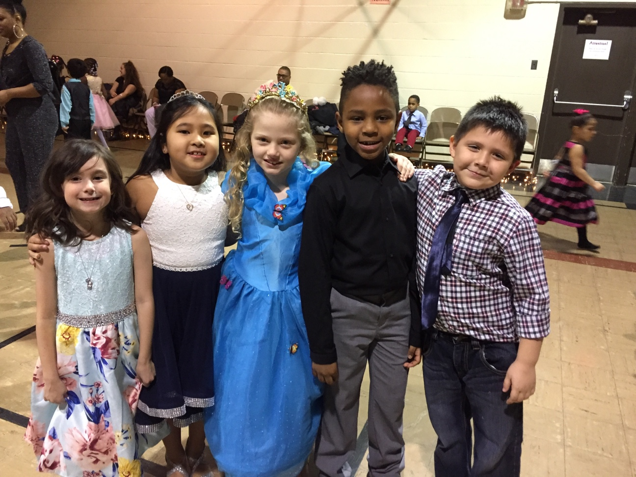 : Winton Woods Primary South first-grade students at the primary prom. Shown (l-r) are Keira Gabbard, Jhemiesha Pullon, Audrey Scott, Elijah Brown, and Andres Ortega.